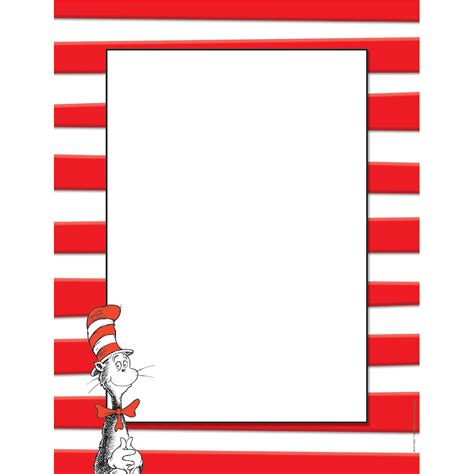 cat in the hat writing paper dr seuss border templates free search results calendar