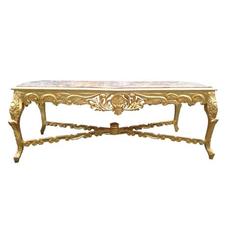 Very Large Dining Table Wooden Baroque Gold Leaf And Beige Gold Leaf Dining Table
