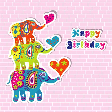 printable birthday cards elephant floral elephants with happy birthday background vector 03
