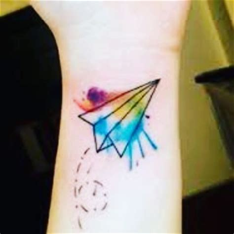 small watercolor paper plane tattoo venice tattoo art