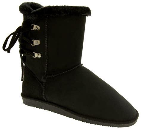 womens rock boots winter warm fur lined faux suede