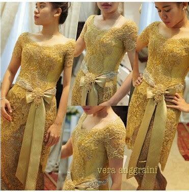 New Elnira Pendek Atasan Rok Lilit lace kebaya gold yellow dress indonesia on we it