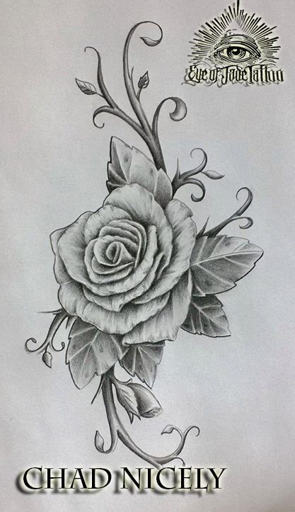 rose tattoo design by chad nicely by eyeofjadetattoos on