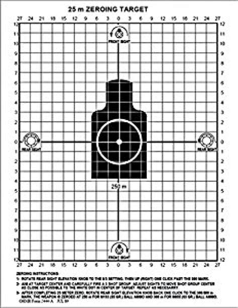 printable zero targets for m4 m16a2 25 meter zeroing target amazon co uk sports outdoors