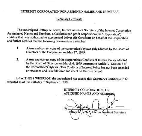 28 corporate secretary certificate template