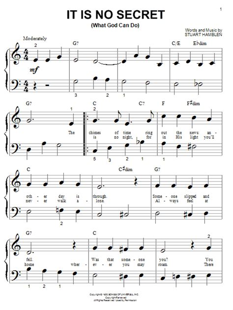 secret piano notes it is no secret what god can do sheet direct