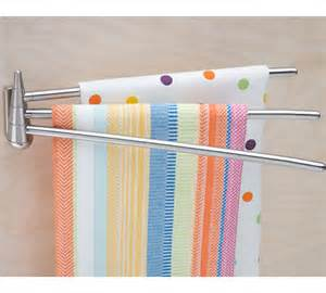 stainless steel swing arm kitchen towel rack in kitchen