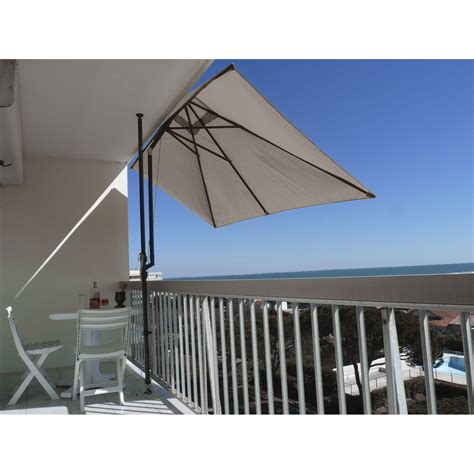Parasol Déporté Rectangulaire Inclinable by Parasol Balcon L 233 O Taupe Rectangulaire L 300 X L 150 Cm