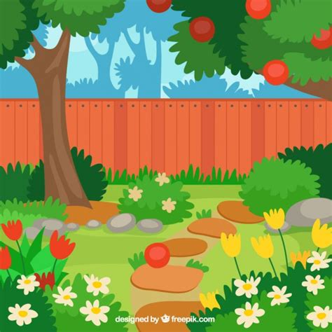 Gardening Vector Lovely Flat Apple Tree In The Garden Design Vector Free