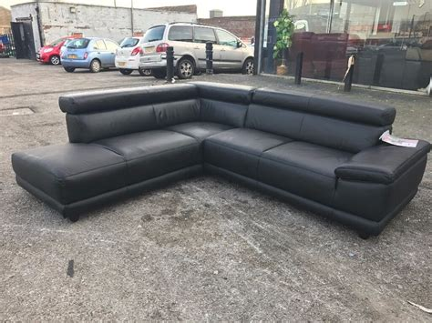harveys designer black leather l shape corner sofa
