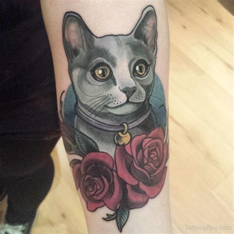 cat rose tattoo cat tattoos designs pictures page 10