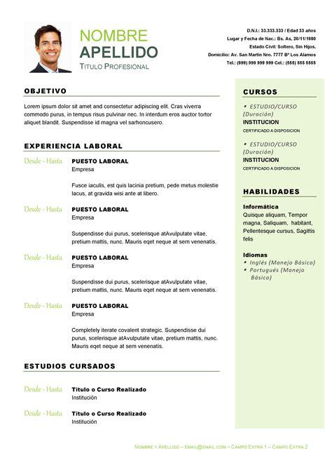 Modelo De Curriculum Vitae En Argentina Curriculum Vitae Profesional Varios Modelos A Elecci 243 N