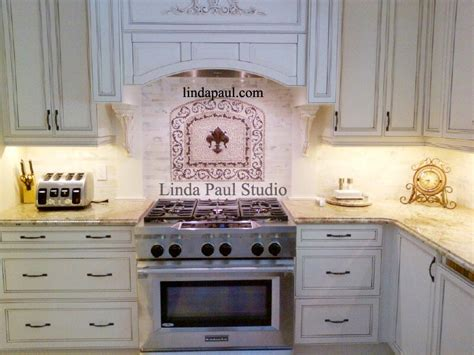 Kitchen Backsplash Metal Medallions by Fleur De Lis Mosaic And Metal Arched Medallion Backsplash