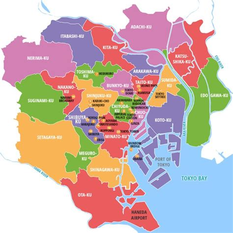 maps tokyo a guide to tokyo s major districts the abroad