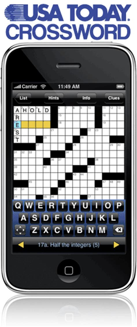 usa today crossword for iphone uclick 174 delivers usa today 174 crosswords on the iphone