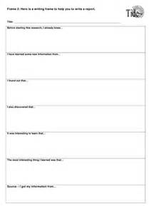 Planning Frame For Report Writing by Worksheet Biography