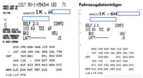 Vw Motorcode Aufkleber by Datentraeger Fahrzeugdaten Aufkleber Im Serviceplan Und