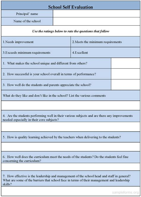 school self evaluation form sle forms
