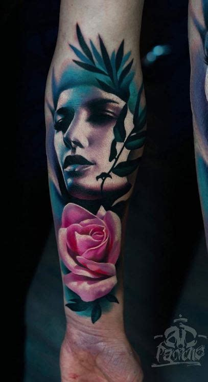 portrait and pink rose tattoo inkstylemag