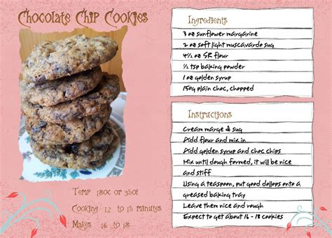 recipes for chocolate chip cookies recipe card wolfsinger s grove