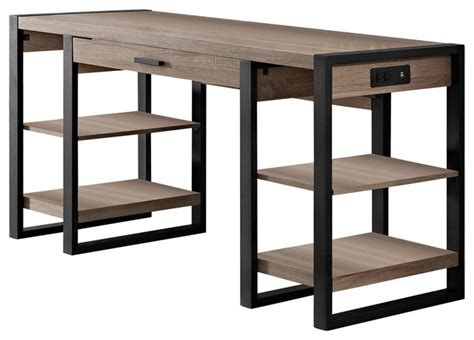 Cappuccino Dining Room Furniture by 60 Quot Urban Blend Storage Desk Driftwood Black Industrial