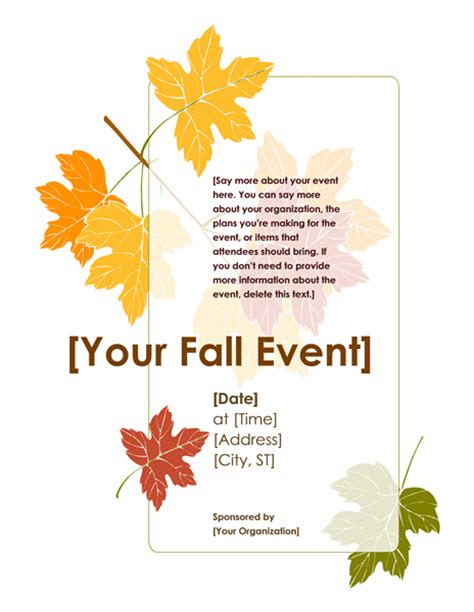 freefalling the courage to jump start your books fall event flyer with leaves office templates