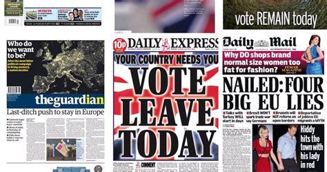testate giornalistiche inglesi brexit ecco come si sono schierati i giornali inglesi