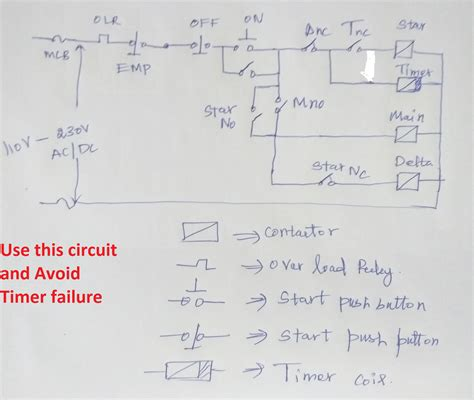 delta starter circuit diagram with timer