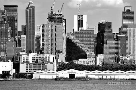 new york city skyline with stair building black and white