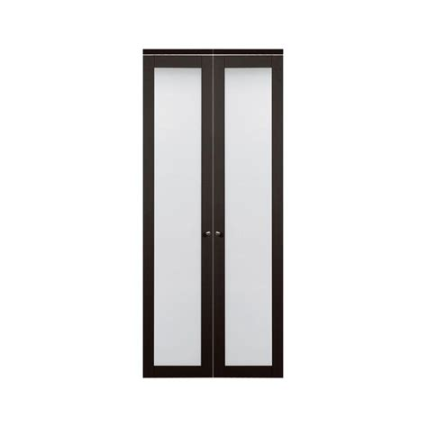 36 Inch Bifold Closet Doors Truporte 36 In X 80 In 3030 Series 1 Lite Tempered Frosted Glass Composite Espresso Interior