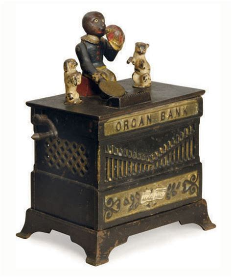 organ bank a cast iron organ grinder mechanical bank circa 1882