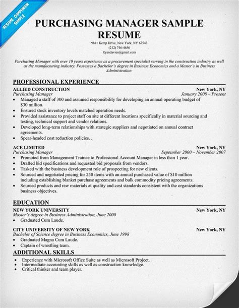 sle resume purchase manager construction company purchasing manager resume resumecompanion resume sles across all industries