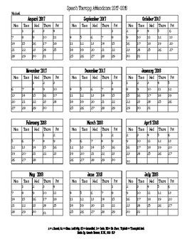 Speech Therapy Attendance Calendar 2017 2018 By Speech Therapy Made Easy Employee Attendance Calendar Printable Free 2018 Printable Calendar Template 2018