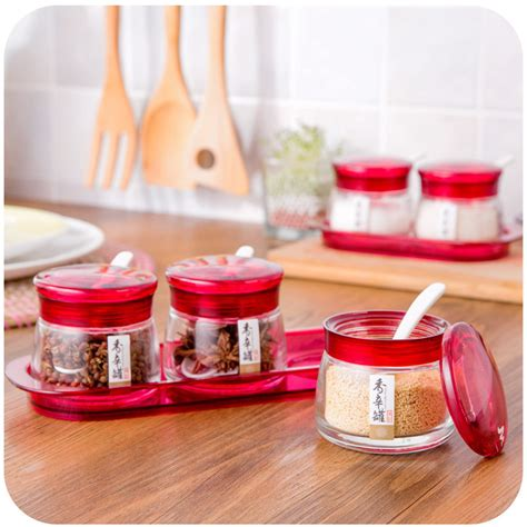 Spice Jar With Spoon Glass Spice Jar With A Tray Spoon Suit Kitchen Supplies