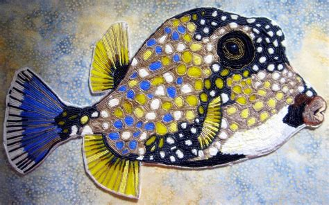 Farmhouse Modern Custom Seed Bead Embroidered Trunk Fish By Contemporary