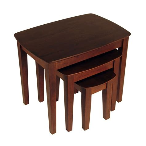 shop winsome wood 3 piece antique walnut accent table set
