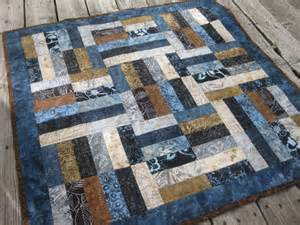 batik quilt baby quilt blue and brown
