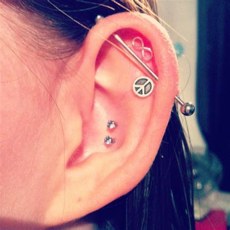 piercings industrial bar infinity peace love cute ears