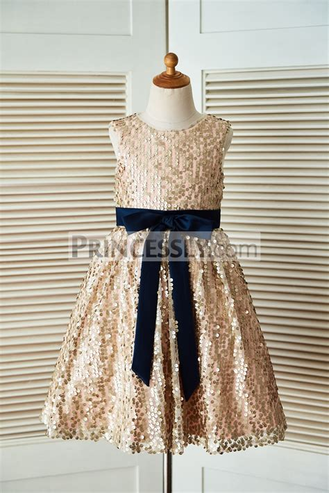 Dress Navy Flower With Belt chagne gold sequin flower dress with navy blue belt and bow avivaly