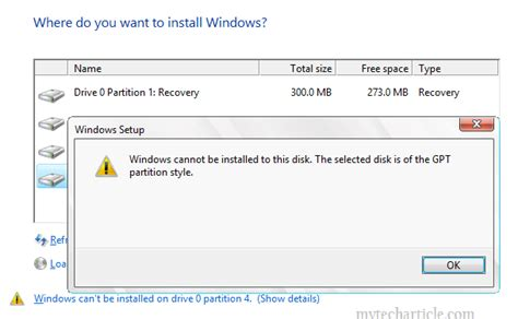 cannot format gpt disk windows cannot be installed to this disk the selected disk