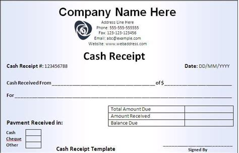 cash receipt template word excel pdf