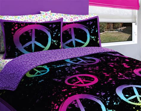 Peace Sign Bedding Set Creative Black Purple Pink Peace Signs Comforter Set 5 Bed In A