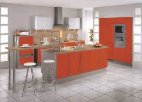 modern red beige kitchen island wall cabinets design
