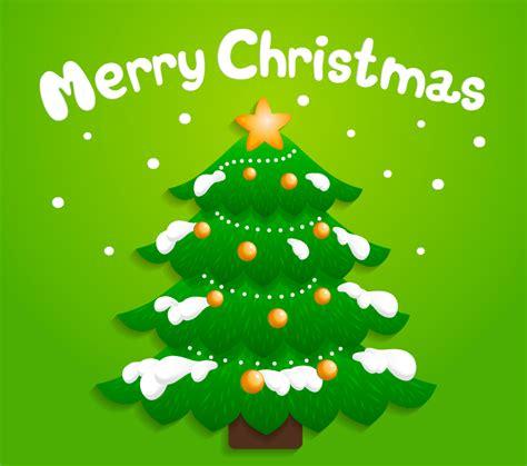 cartoon snow christmas tree vector material over