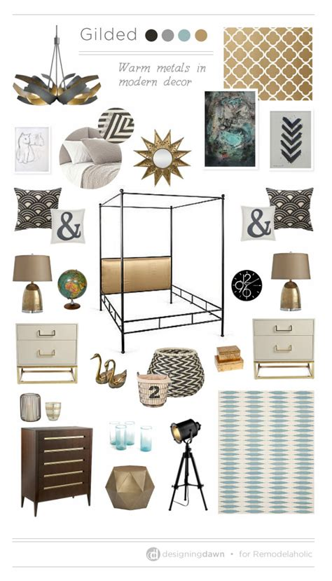 home decor design board remodelaholic a gilded mood board using warm metals in