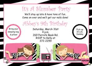 slumber birthday invitation pajama sleepover