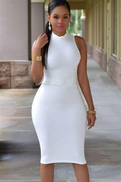 white sleeveless mock neck cut  bodycon dress