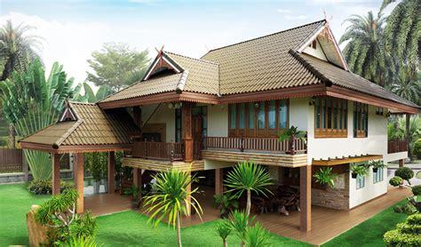 thai drawing house plans free house plans แบบบ านสองช นไทยประย กต ออกแบบให ม ส วนของใต ถ น รองร บ