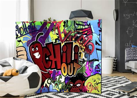 chill out graffiti wallpaper vouwscherm chill out graffiti 225x172cm karo art vof