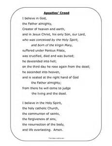 prayer sheet apostles creed resource